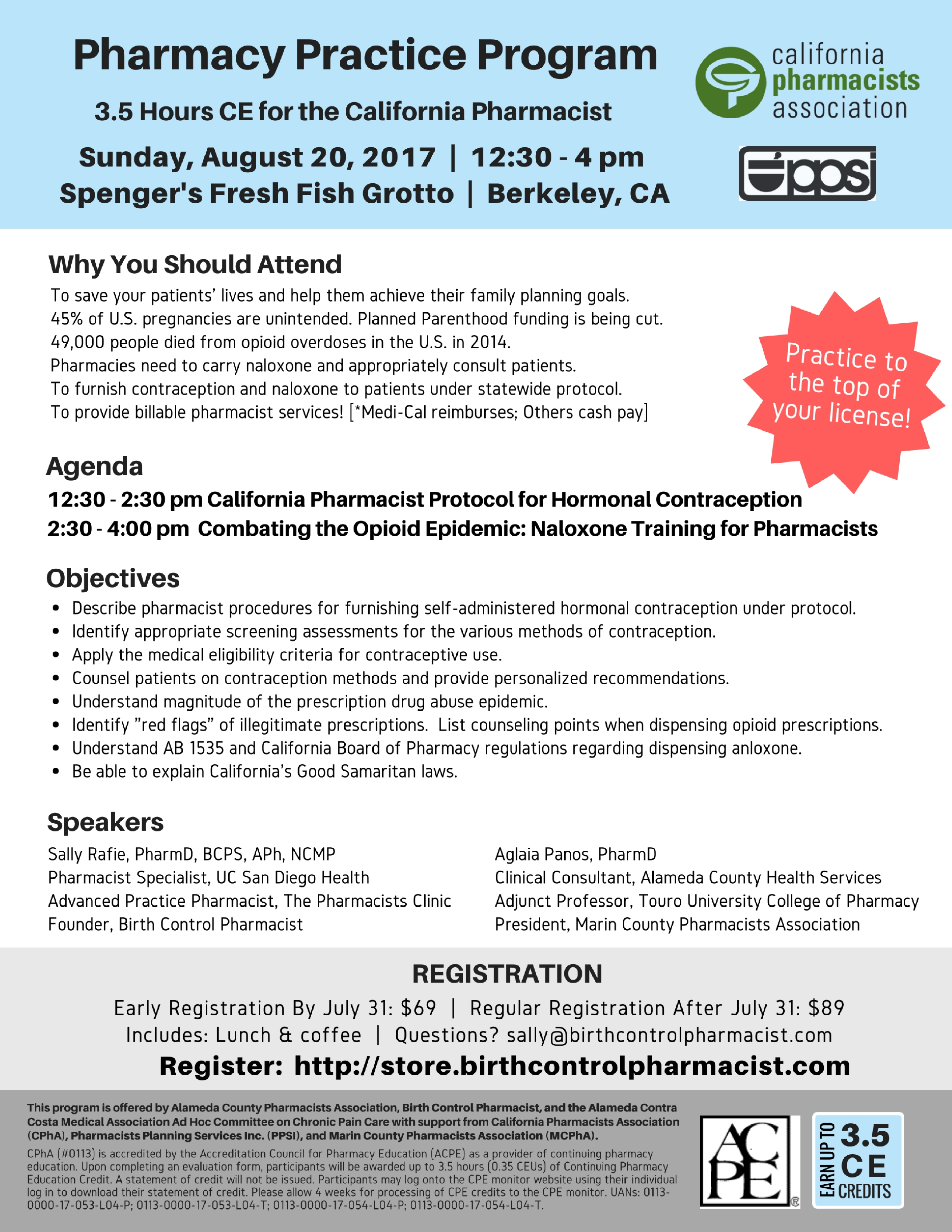 Pharmacy Practice CE Program for the CA Pharmacist - August 20 Berkeley